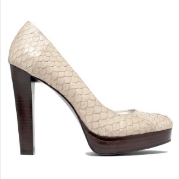 c0ccbacbbb6 Calvin Klein Women's Snakeskin Sarika Tan Heels